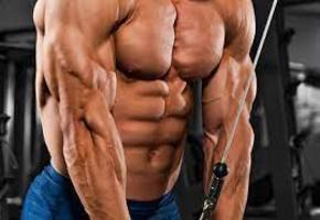 Uomo molto muscoloso che compie un esercizio